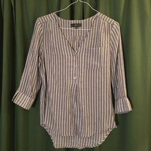 Striped gray/white blouse 3/4 sleeve